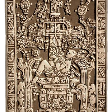 Ancient Astronaut, Pakal, Maya, sarcophagus lid, by TOMSREDBUBBLE