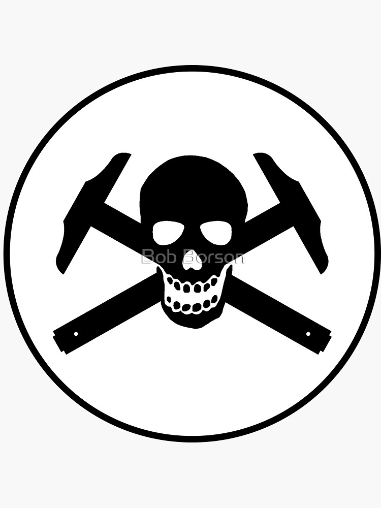 Architectural Jolly Rogers w/ circle Black Image (sticker only) by bobborson