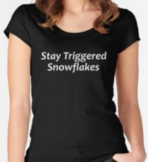 Stay Triggered Snowflakes Women's Fitted Scoop T-Shirt
