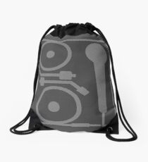 2 turntables and a microphone Drawstring Bag