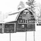 Americana Barn in the Snow Storm B&W by Jim Stiles