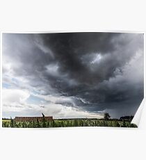 Amazing storm clouds over rural England Poster