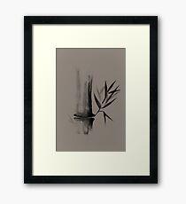 Bamboo stalk Sumi-e Oriental Zen painting design on beige background art print Framed Print