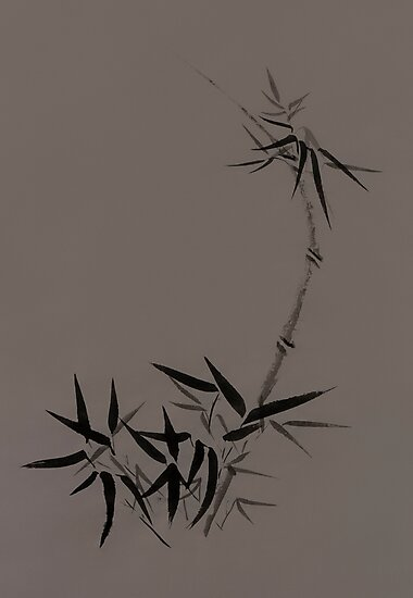 Bamboo stalk with young leaves Sumi-e Japanese Zen painting artwork on mocha background art print by AwenArtPrints