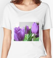 purple tulips Women's Relaxed Fit T-Shirt