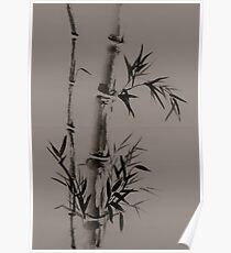 Bamboo stalk with leaves Sumi-e rice paper Zen painting artwork artistic design art print Poster