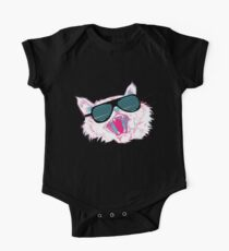 Awesome 80's Sunglasses Cat  One Piece - Short Sleeve