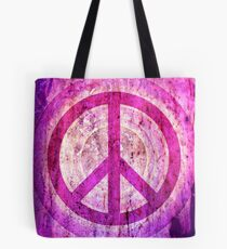 Peace Sign - Grunge Texture with Scratches Tote Bag