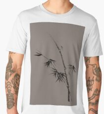 Bamboo stalk with young leaves minimalistic Sumi-e Japanese Zen design in natural colors art print Men's Premium T-Shirt