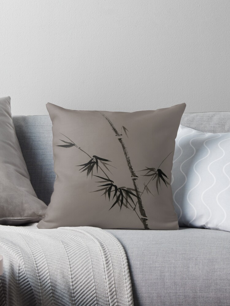 Bamboo stalk with young leaves minimalistic Sumi-e Japanese Zen design in natural colors art print by AwenArtPrints
