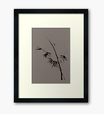 Bamboo stalk with young leaves minimalistic Sumi-e Japanese Zen design in natural colors art print Framed Print