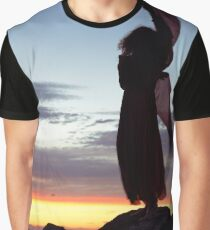 Woman in red dress flying in the wind dancing silhouette in sunset nature scenery art print Graphic T-Shirt