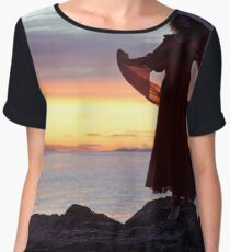 Woman in red dress flying in the wind dancing in sunset on the ocean shore art print Women's Chiffon Top