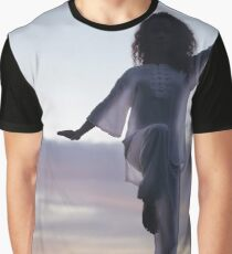 Woman practicing Tai Chi at sunset outdoorsa art print Graphic T-Shirt