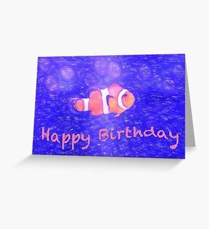 Happy Birthday Clown Fish Card Greeting Card