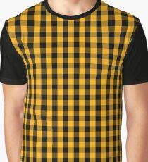 Pale Pumpkin Orange and Black Halloween Gingham Check Graphic T-Shirt