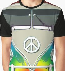 Colorful Psychedelic Groovy Peace Van Graphic T-Shirt