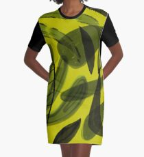 Tropicana 4 Graphic Leaves on Chartreuse Graphic T-Shirt Dress