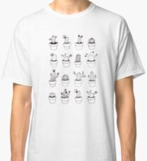 Hand Drawn Cactuses Pattern Classic T-Shirt