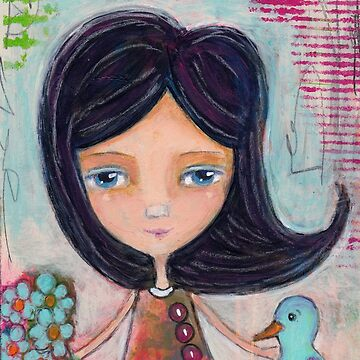 Girl and a Bluebird Painting by peaceofpistudio