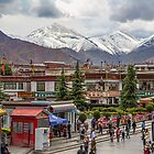 Tibet. Lhasa. Square with the Mountains in the background. by vadim19