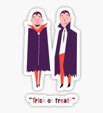 Happy set with two vampire cartoon men. Count Dracula wearing black and red cape. Cute character with fangs. Two flying bat boy ore man on Halloween. Flat design. White background. Vector illustration Sticker