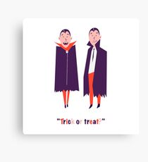 Happy set with two vampire cartoon men. Count Dracula wearing black and red cape. Cute character with fangs. Two flying bat boy ore man on Halloween. Flat design. White background. Vector illustration Canvas Print