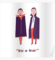 Happy set with two vampire cartoon men. Count Dracula wearing black and red cape. Cute character with fangs. Two flying bat boy ore man on Halloween. Flat design. White background. Vector illustration Poster