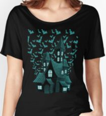 Wrath Blue Halloween Haunted House Bat Flyover Women's Relaxed Fit T-Shirt