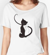 Blue White And Black Cats In Love Women's Relaxed Fit T-Shirt