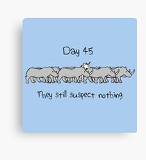 Day 45. They still suspect nothing (small text) Unicorn and Rhinos Canvas Print