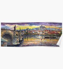 Prague Castle with the Vltava River Poster