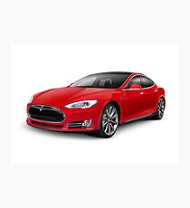 Tesla Model S red luxury electric car art photo print Photographic Print