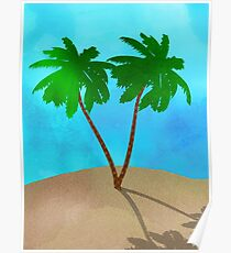 Watercolor Palm Tree Collage Poster