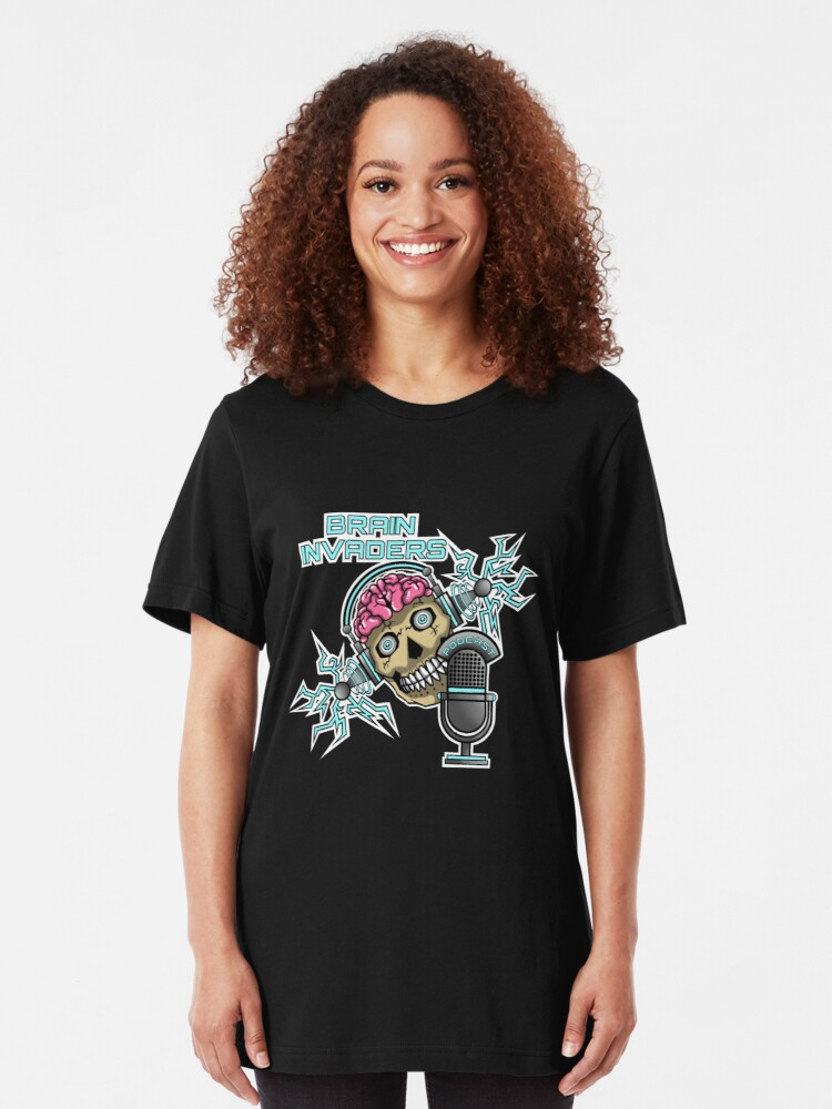 Alternate view of Brain Invaders Slim Fit T-Shirt