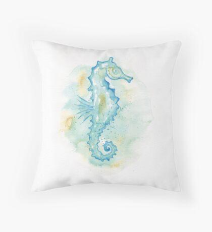 Aqua Sea Horse Throw Pillow