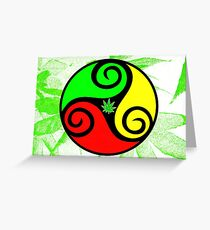 Reggae Love Vibes - Cannabis Reggae Flag Greeting Card