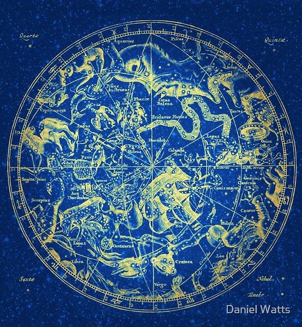 Zodiac Skies & Astrological Ties | Yellow on Blue Infinity by Daniel Watts