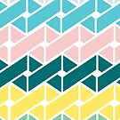 Geometric Link Pattern Teal Pink Turquoise Green Yellow by Beverly Claire Kaiya