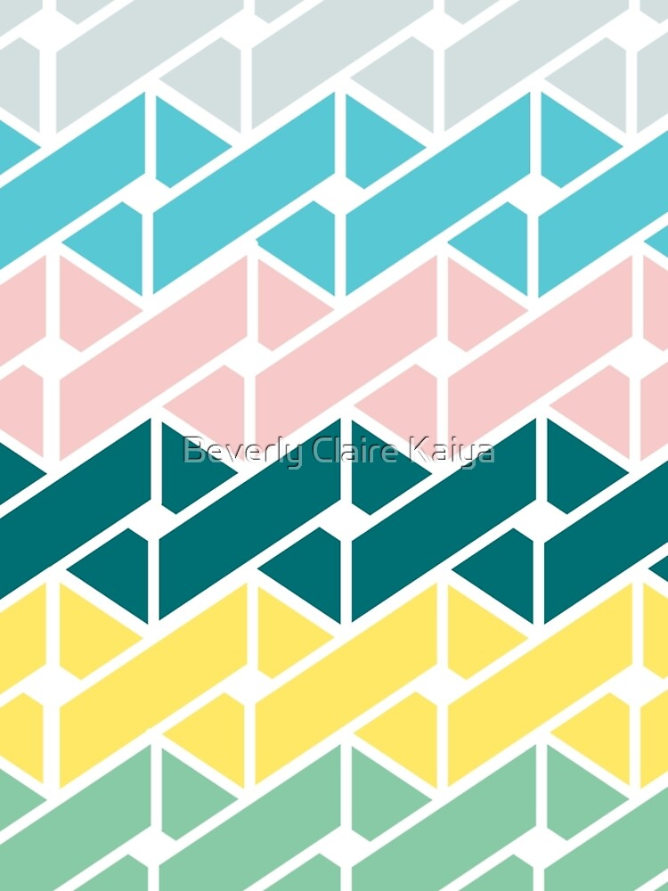 Geometric Link Pattern Teal Pink Turquoise Green Yellow by beverlyclaire