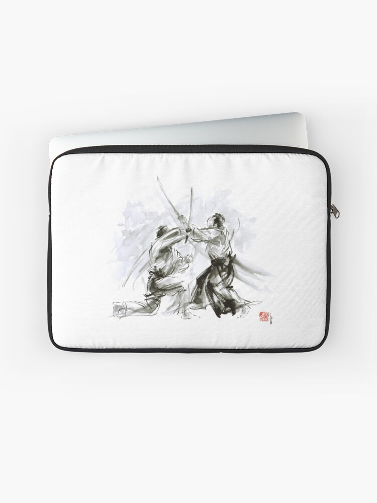 Mens Gift Ideas Aikido Martial Arts Ink Drawing Large Poster Laptop Sleeve