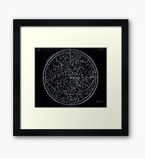 Constellations of the Northern Hemisphere | Pale Blue On Black Framed Print