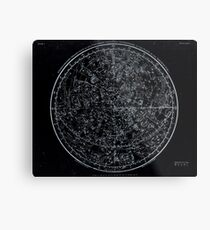 Constellations of the Northern Hemisphere | Pale Blue On Black Metal Print