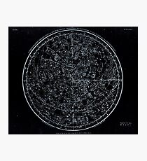 Constellations of the Northern Hemisphere | Pale Blue On Black Photographic Print