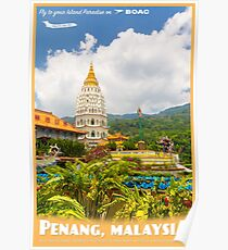 Vintage Penang, Malaysia Travel Poster Poster
