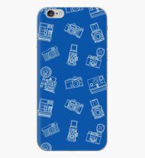 Vintage Kameras Muster Blau iPhone-Hülle & Cover