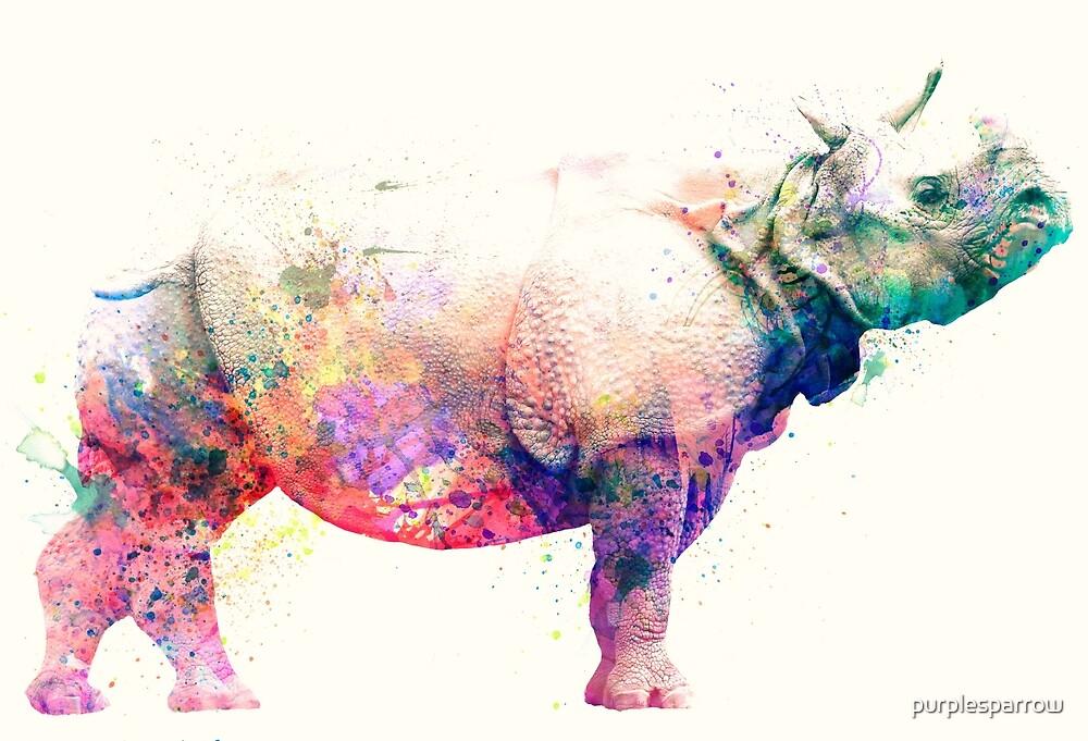 Watercolor Rhino by purplesparrow