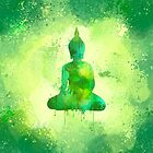 Refreshing Green Watercolor Buddha Design | Meditating Buddha Painting  by Thubakabra