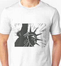 Lady liberty New York USA in linocut print T-Shirt