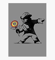 Banksy Mario Flower Thrower Photographic Print